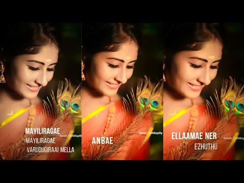 Mayilirage Mayilirage song 💕 Full Screen WhatsApp Status Tamil 💕Krishnapriya k nair💕 Swag Video Status
